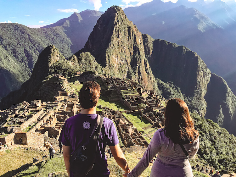 Kat and Chris overlooking Machu Picchu