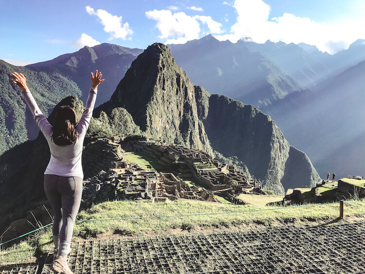 Kat posing in front of Machu Picchu