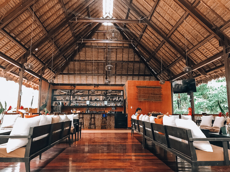 Main hall and bar and lounge at the Tambopata Research Center