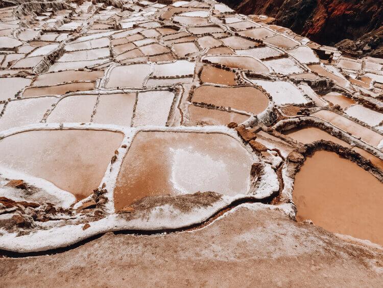 Maras Salt Mines pools of salt close up