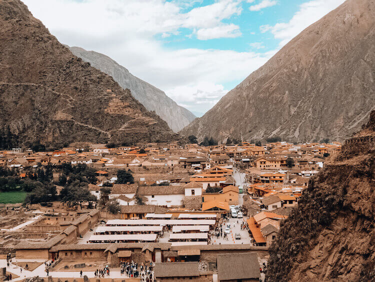 Overlooking Ollantaytambo town while on top of the ruins in the Sacred Valley, Peru