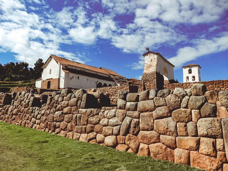 The stone ruins and church in Chinchero, Peru