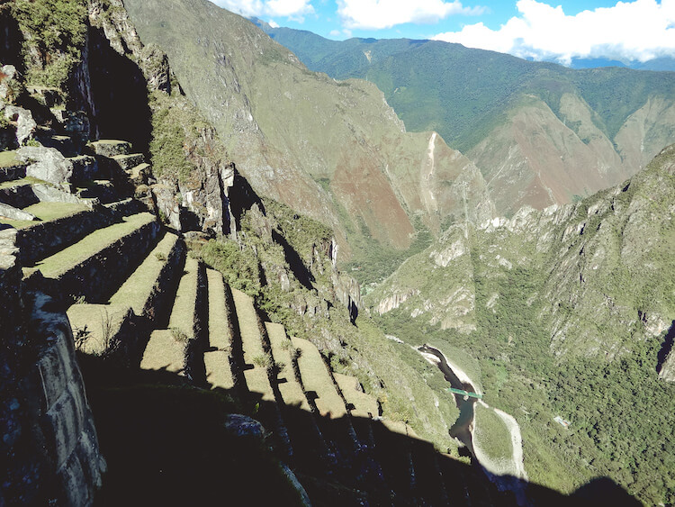 agricultural terraces and river below at Machu Picchu