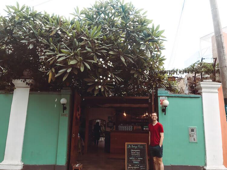 Garden cafe entrance in Lima, PEru
