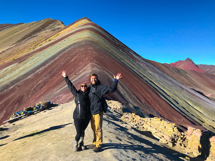 Kat and Chris excited to be at Rainbow Mountain