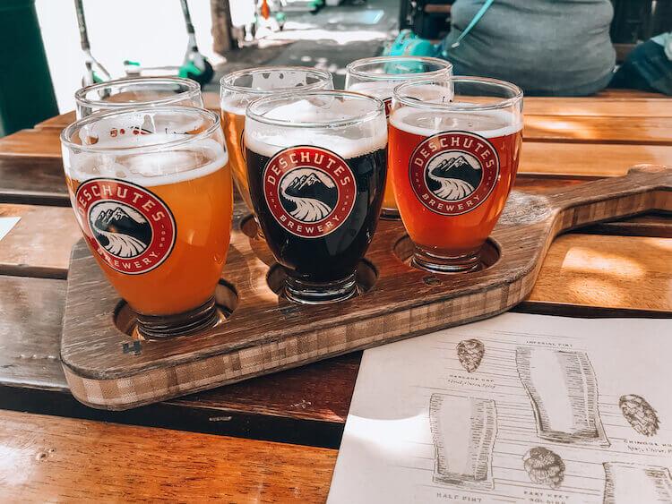 Deschutes Brewery in Portland, Oregon flight