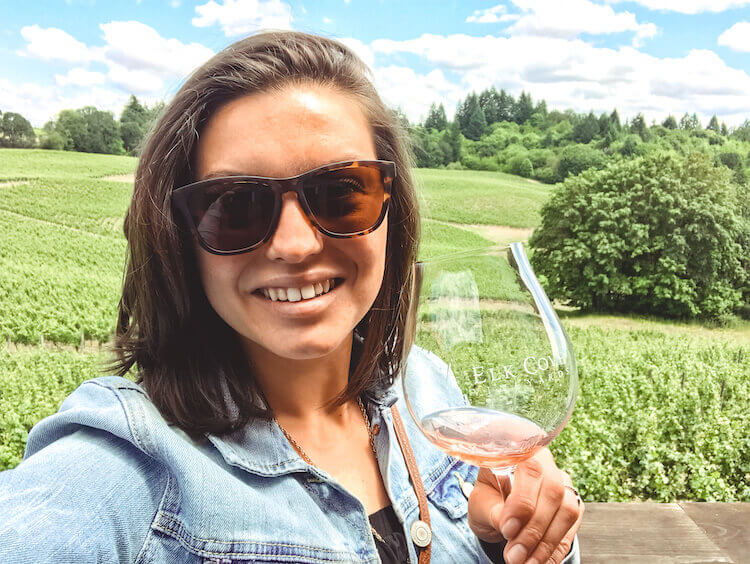Kat enjoying Elk Cove Vineyards in the Willamette Valley, Oregon