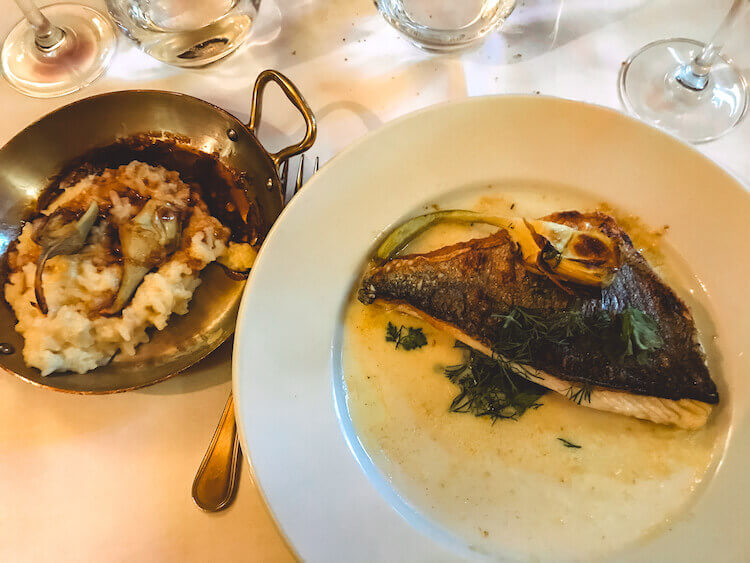 Trout and risotto at Le Procope
