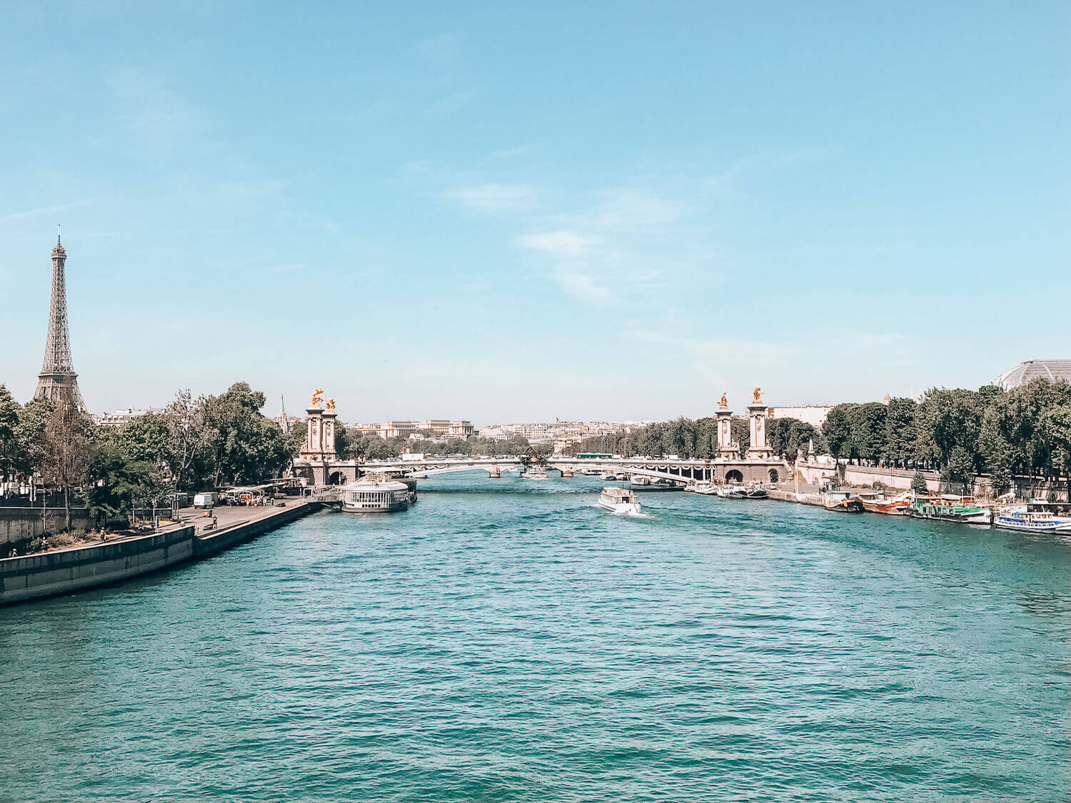 View of Paris along the Seine with Eiffel Tower