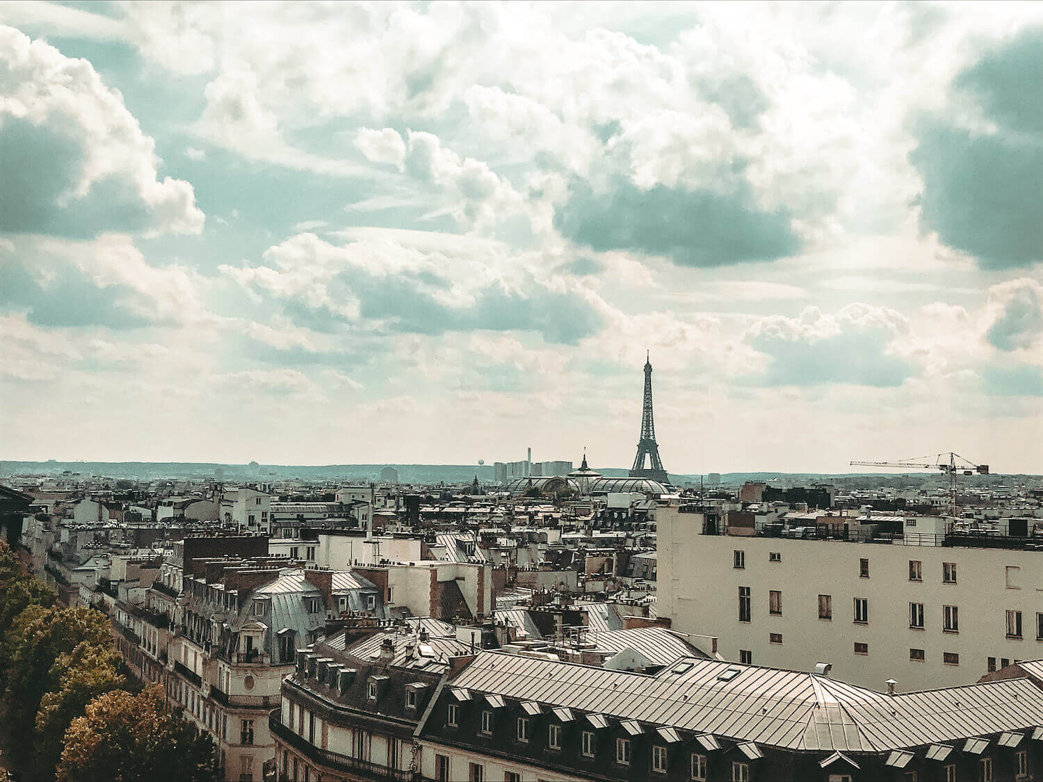 Views of Paris rooftops and the Eiffel Tower from Perruche