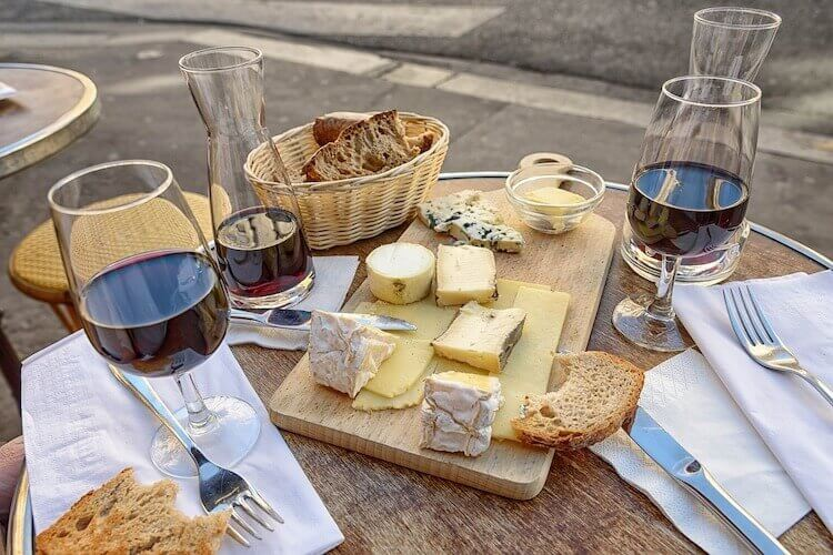 picnic with cheese and wine in Paris
