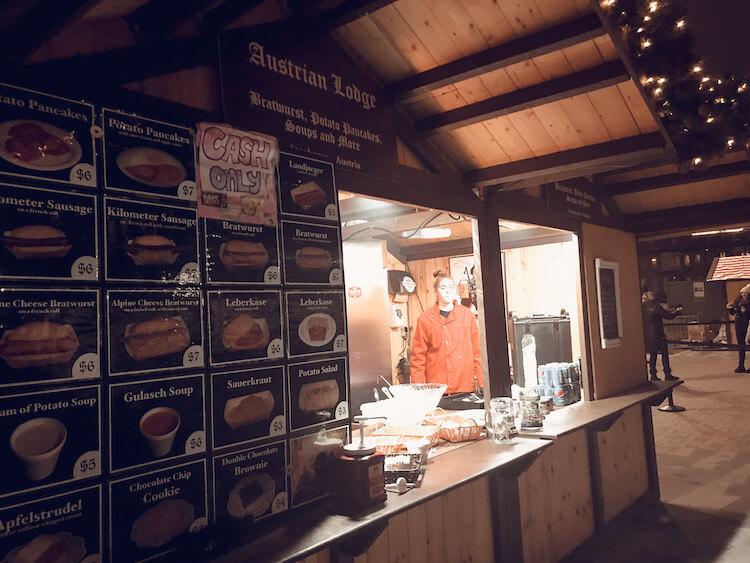 Austrian Lodge sausage stand at the Milwaukee Christkindlmarket