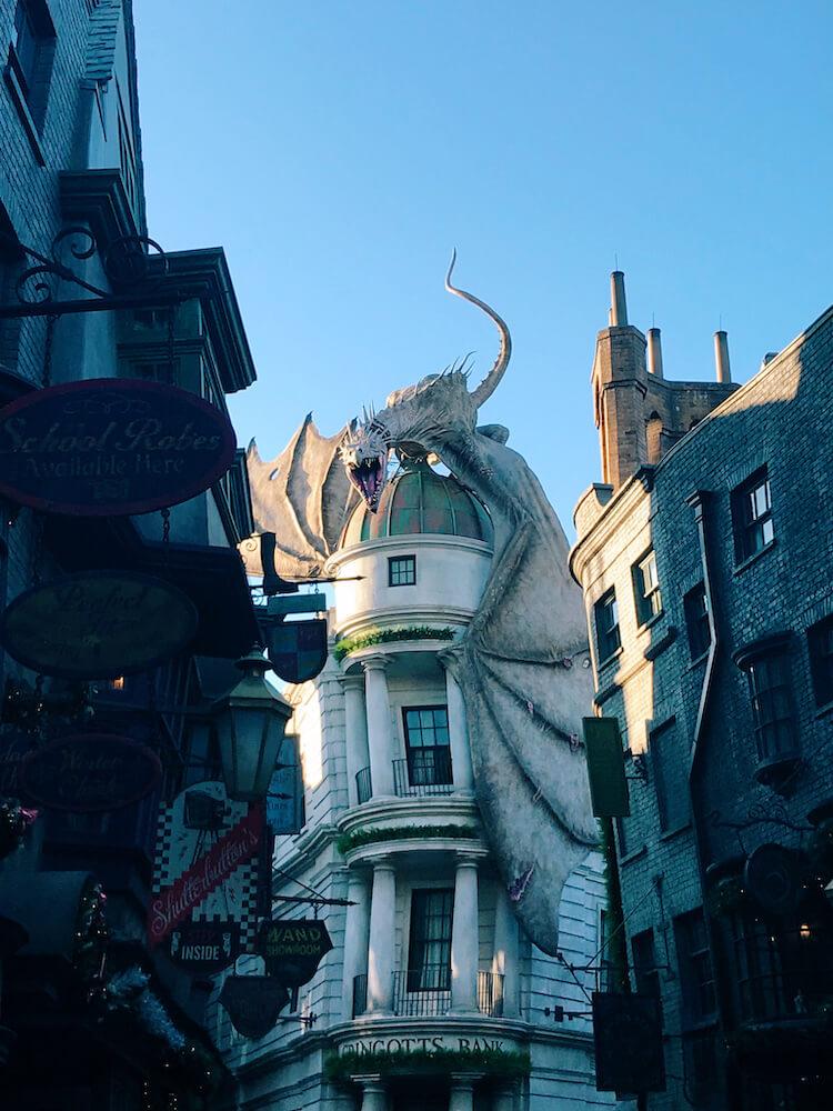 Dragon over Gringotts at Harry Potter World