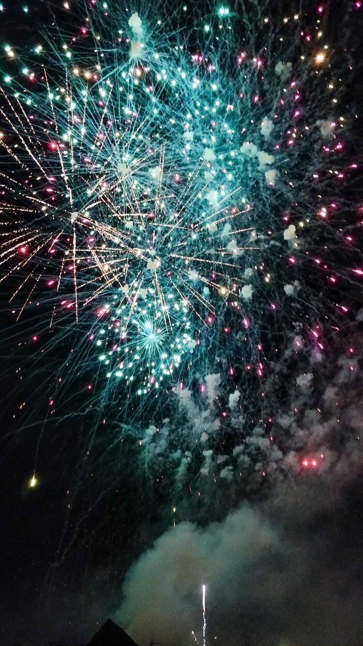 Fireworks at night around Christmas