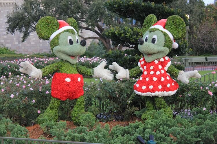 Mickey and Minnie bush art at Disney World after Christmas