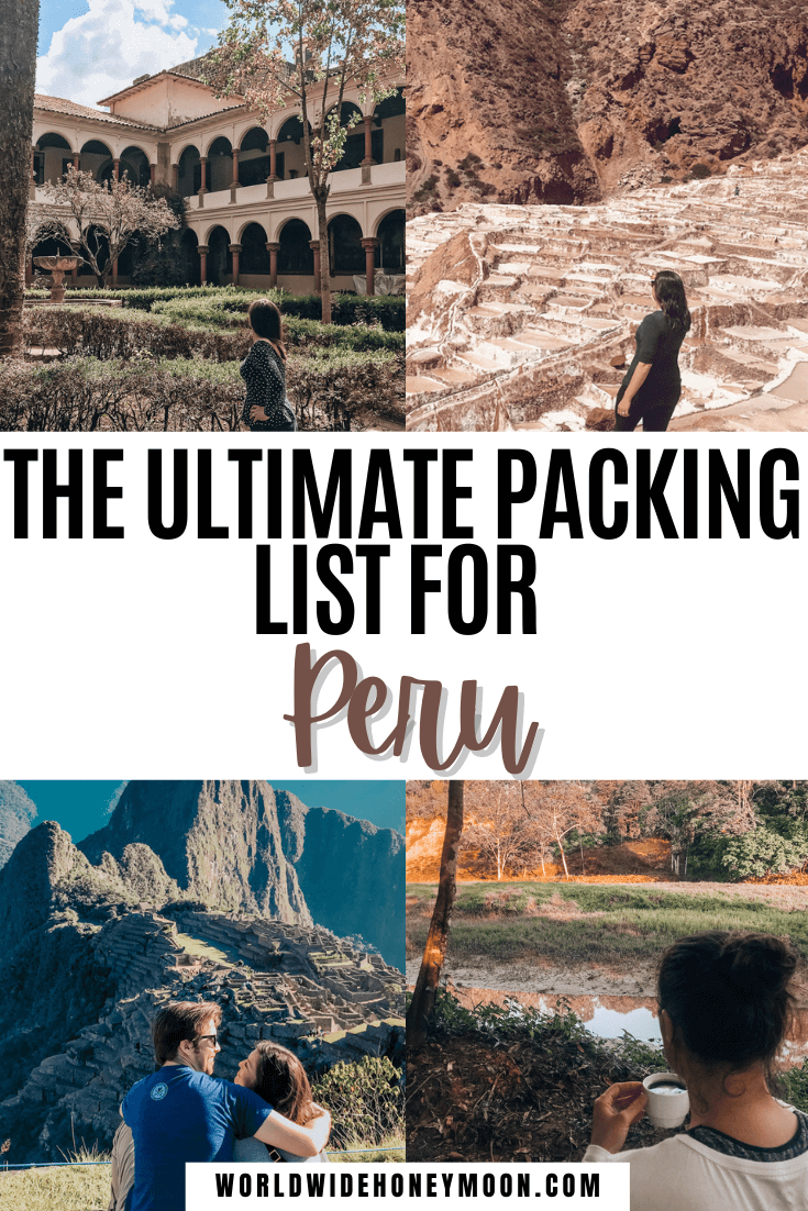 The ultimate Peru packing list including cities, trekking, and the Amazon Rainforest in just a carry on | Peru Packing List Women | Peru Packing List June | Peru Packing List Clothes | What to Pack for Peru | Peru Outfits | What to Wear in Peru | Packing Checklist for Peru | What to Wear in Peru Outfits