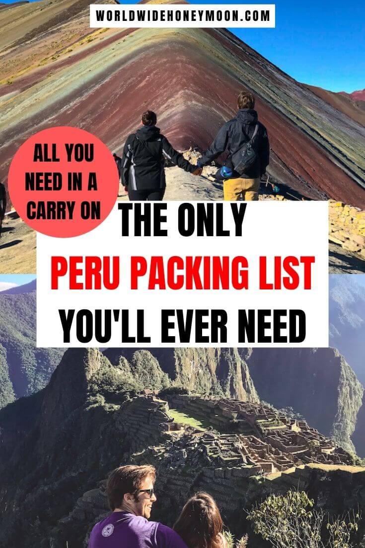 Peru Packing List | Peru Packing List Woman | Peru Packing | Peru Packing List Clothes | Peru Packing List Man | Peru in a Carry On | Carry On Packing Peru | Peru Outfits Travel for Women | Peru Outfits Travel | Peru Outfits Winter | Peru Outfits Summer #perutravel #peru #perupacking #carryononly #perupackinglist