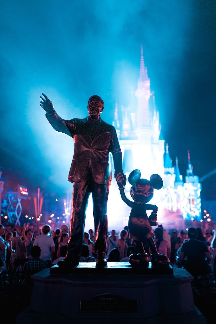 Walt Disney Statue and Mickey Statue at Disney World