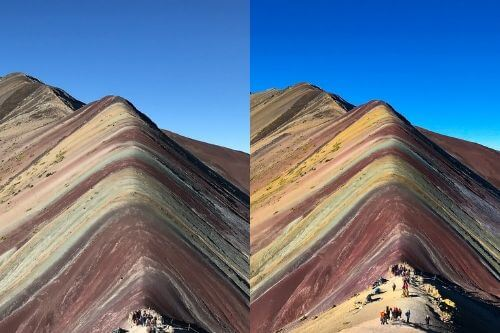 Before and After Editing for Rainbow Mountain