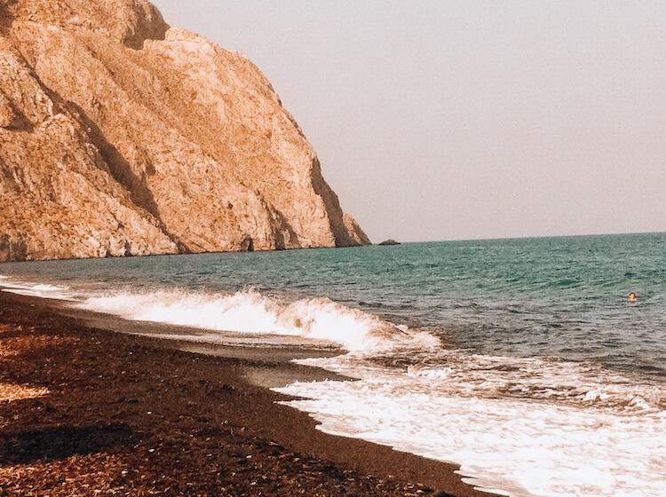 Black Sand Beach in Perissa, Santorini, Greece