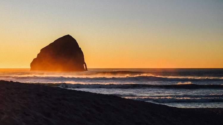 Cape Kiwanda at sunset. Cape Kiwanda, Pacific City, Oregon.