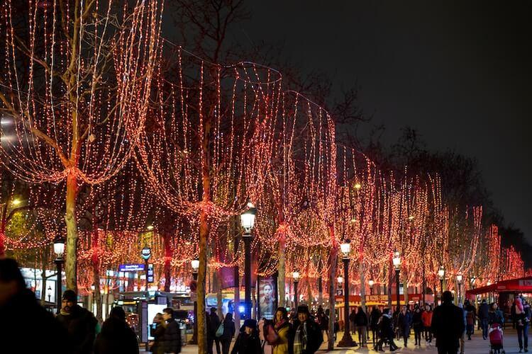 Champs Elysees, Paris, France lit up