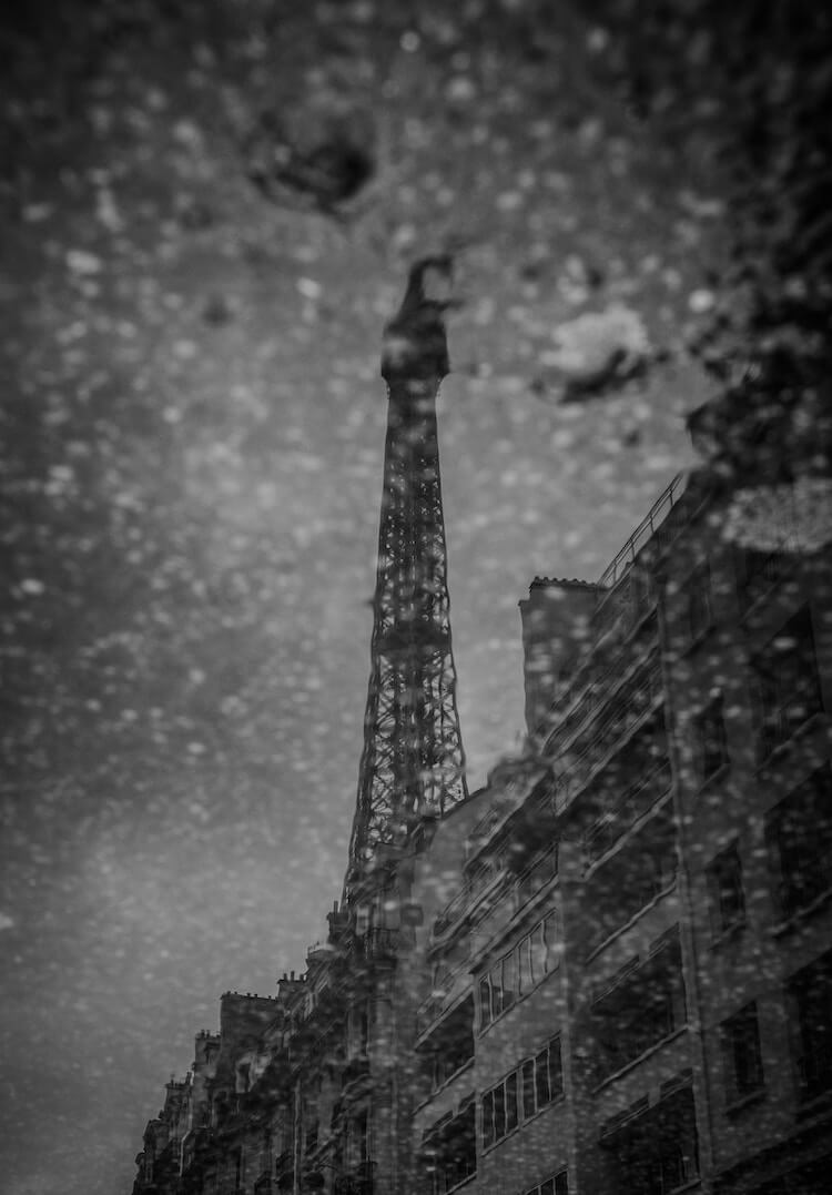 Eiffel Tower during a snow storm