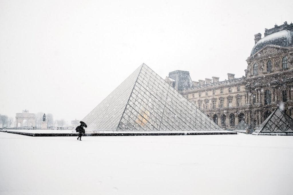 Louvre Museum covered in snow