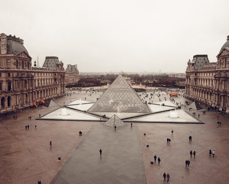 Louvre Museum in the winter