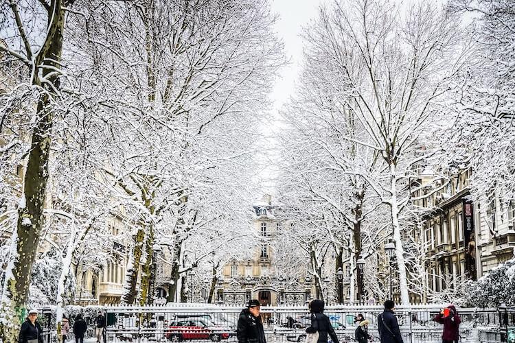 Monceau Parc in winter, Paris, France