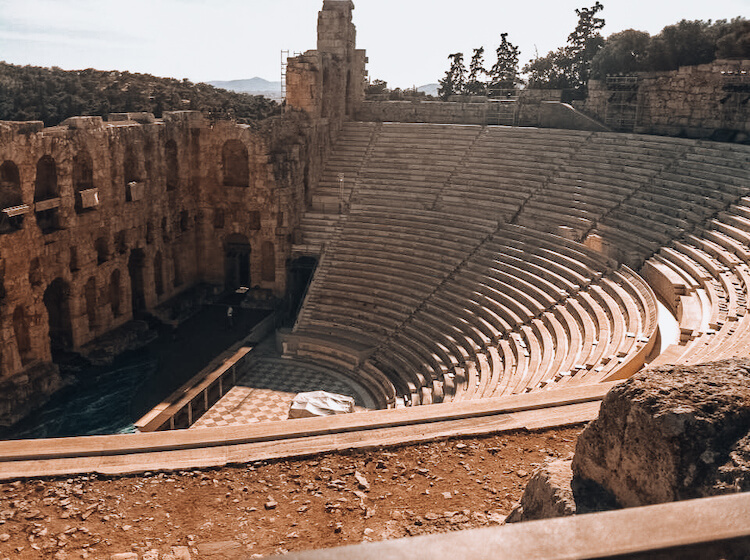 Overlooking the Odean of Herodes Atticus in Athens, Greece