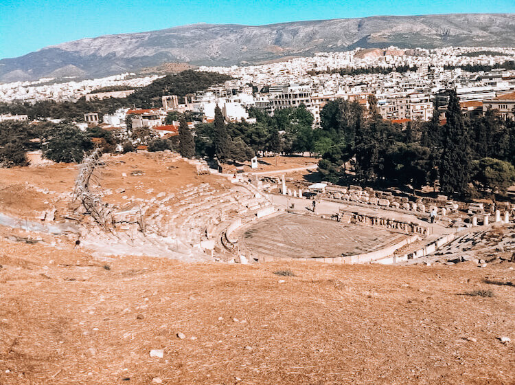 Overlooking the Theatre of Dionysus in Athens, Greece