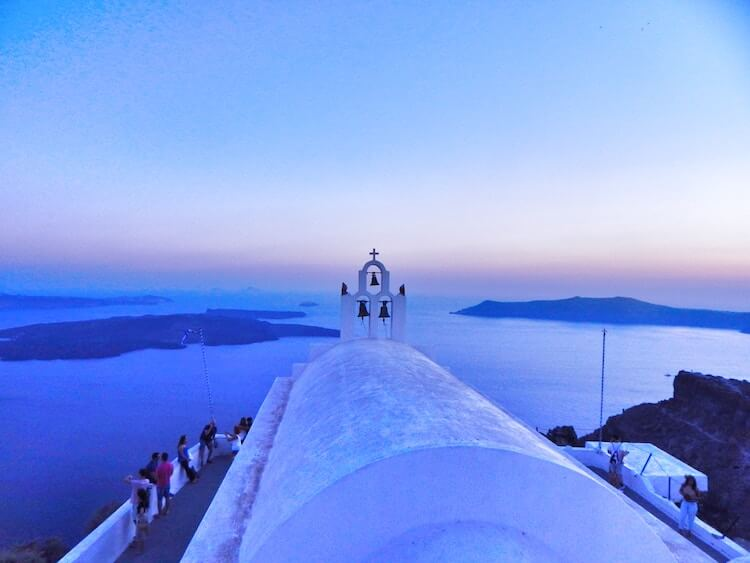 Santorini church during blue hour during 7 days in Greece itinerary