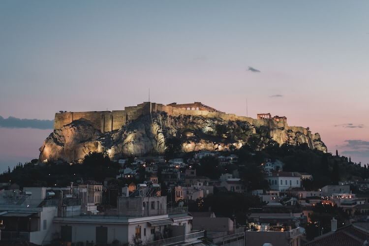View of Acropolis at Night During 7 Days in Greece
