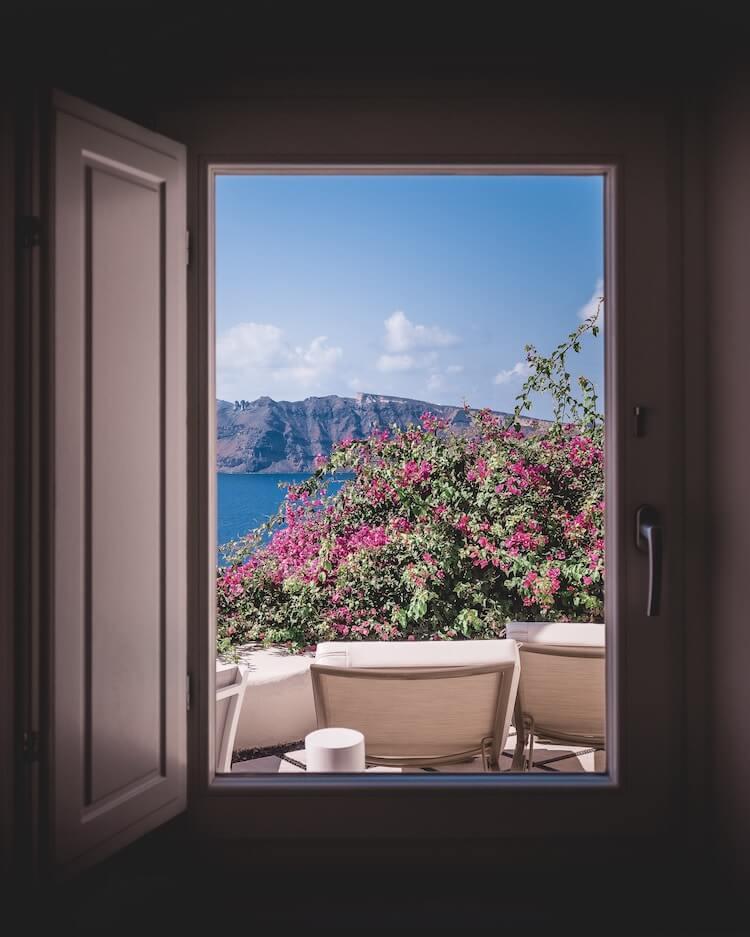 View of the Caldera from window in Santorini, Greece