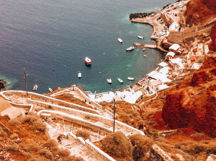 Views of the port on the other side of Santorini