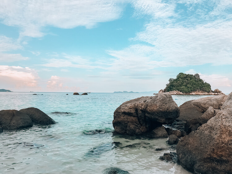 Clear water with rocks on Koh Lipe, Thailand