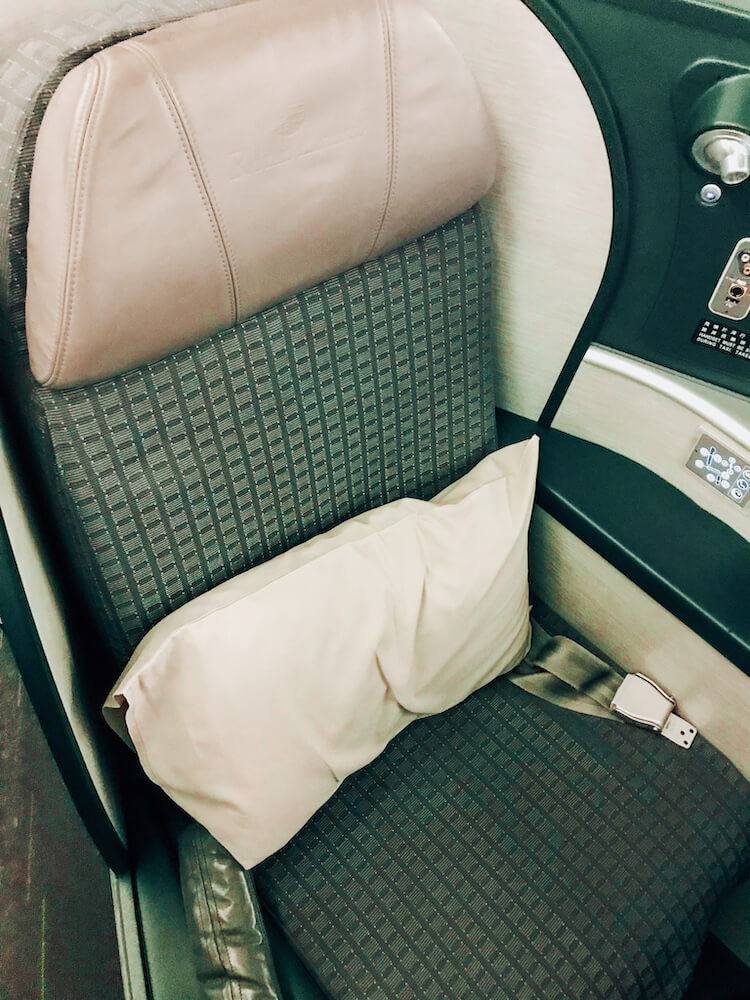EVA airways business class on the way from Thailand