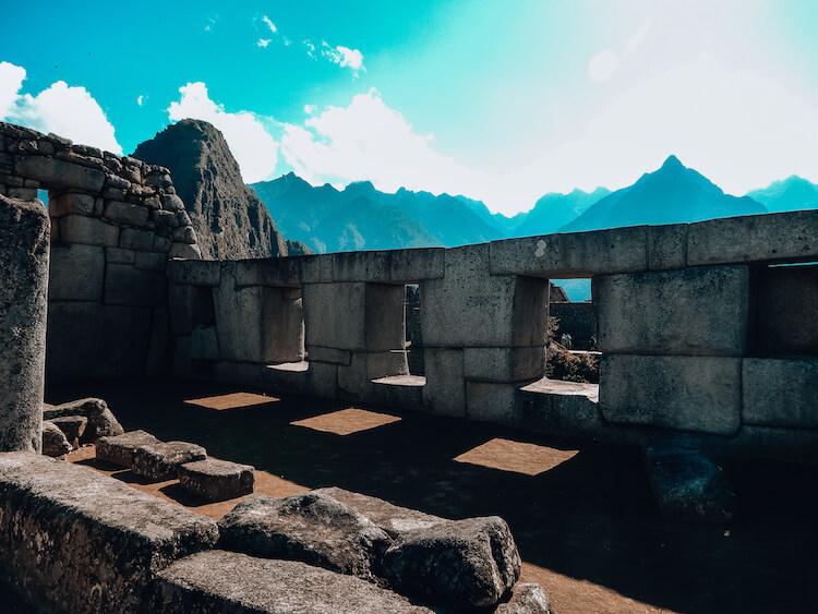 Inside a temple on Machu Picchu