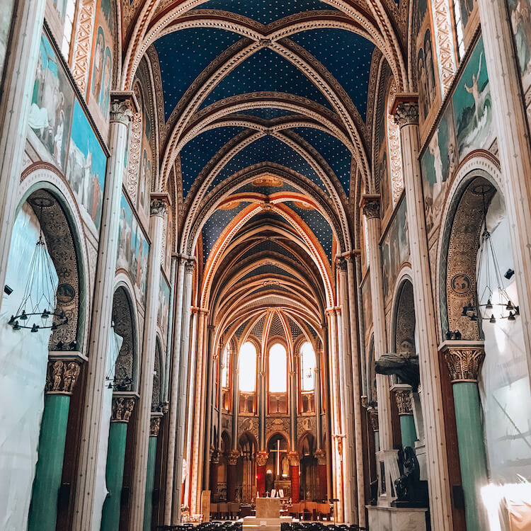Inside of the Saint Germain Cathedral in Paris