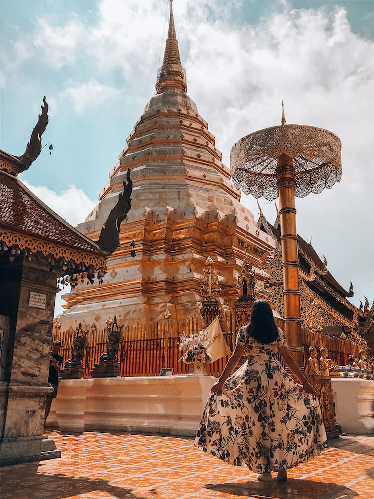 Kat in front of Doi Suthep in Chiang Mai