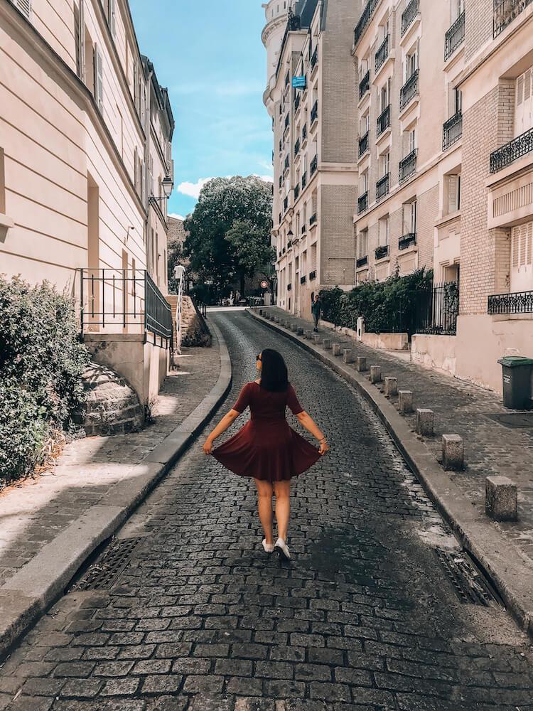 Kat wandering around Montmartre in Paris- Trip to Paris Cost