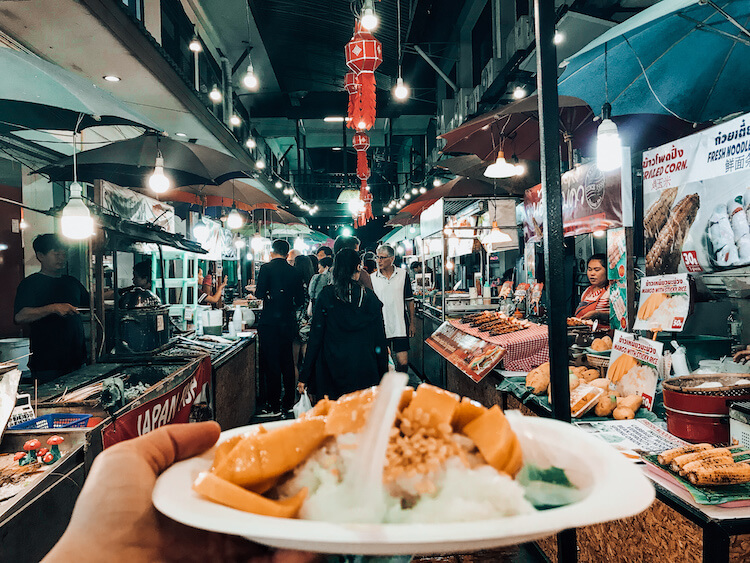 Mango sticky rice at the Chiang Mai Night Bazaar