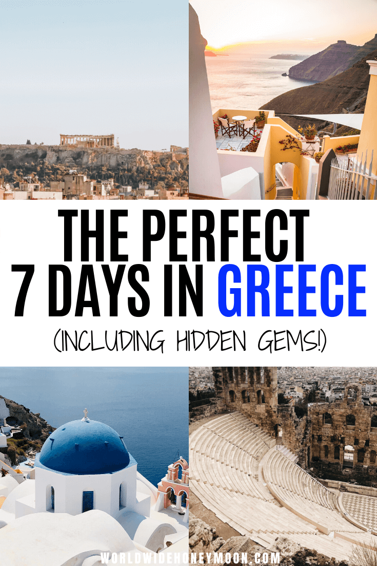 This is how to spend 7 Days in Greece | 7 Days in Greece Itinerary | Greece Itinerary One Week | Greece in a Week | One Week in Greece Itinerary | Where to Go in Greece For 7 Days | Greece Honeymoon Romantic | Greece Honeymoon Itinerary | Greece Honeymoon Couples | Places to Visit in Greece | Greece Itinerary | What to do in Greece | Vacation in Greece | Greece Island Hopping #greece #greeceguide #greecetravel #santorini #athens #greekislands
