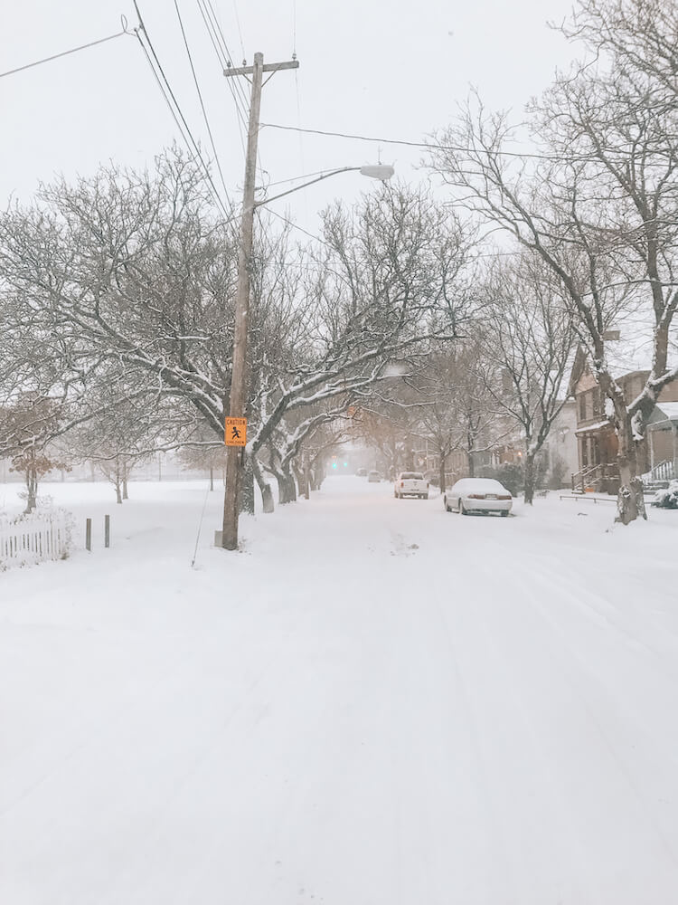 Cleveland street after snowstorm in winter