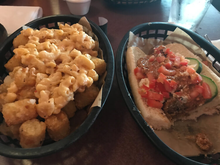Happy Dog hot dog and mac and cheese tots