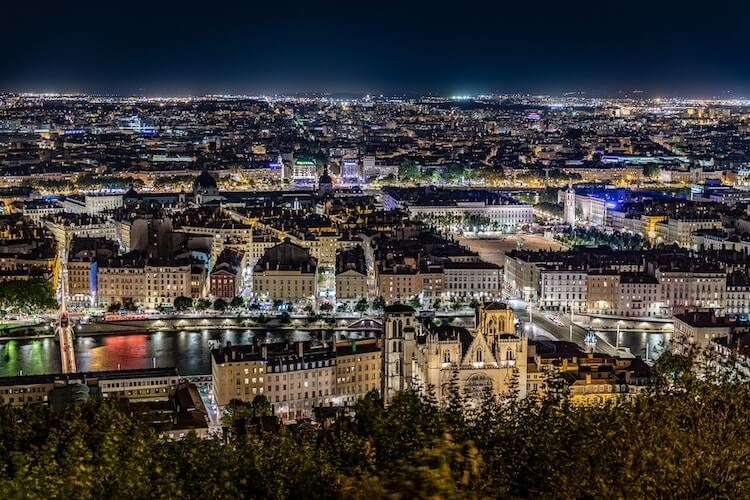 Lyon at night