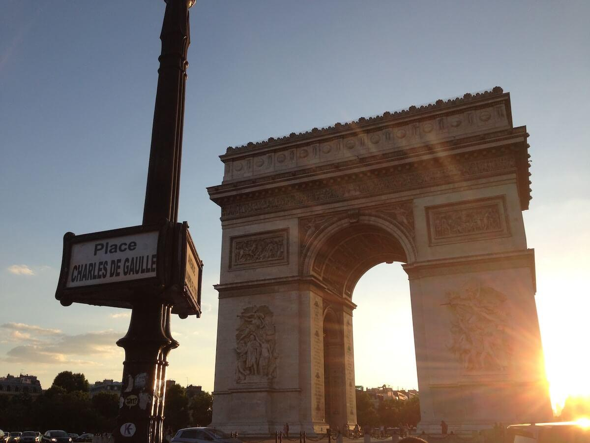 Arc du Triomph at sunset - Best Arrondissement to Stay in Paris