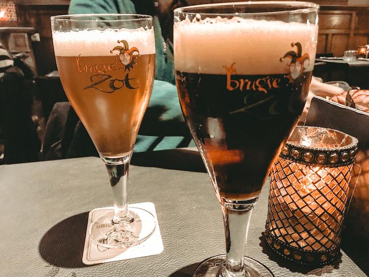 Brugse Zot beers at a pub in Bruges-Best Restaurants in Bruges