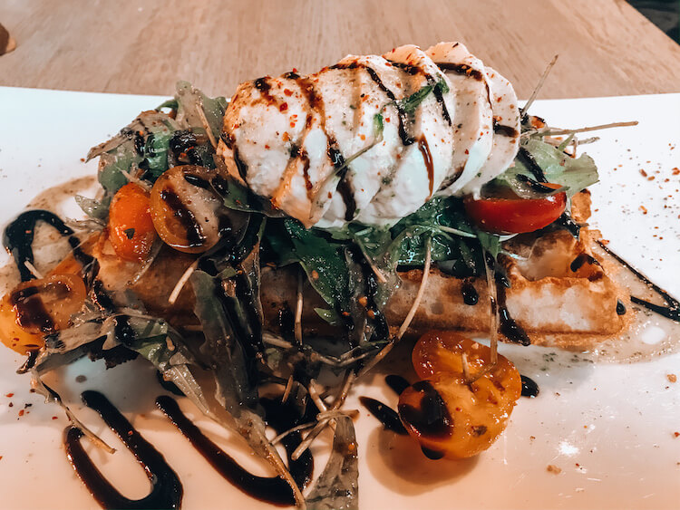 Caprese waffle at House of Waffles in Bruges